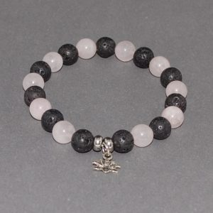 Lave Bead Rose Quartz Bead Bracelet