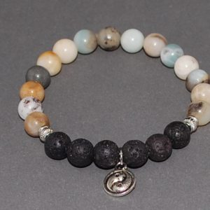 Lava Amazonite Essential Oil Diffuser Bracelet